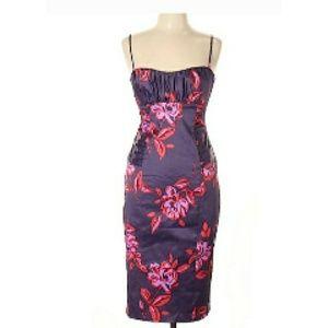 David Meister Dress Plum/Flowers Size 10 NWT